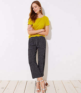 LOFT Mixed Stripe Wide Leg Pants