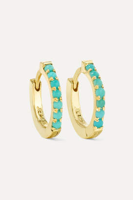 Jennifer Meyer Huggy 18 Karat Gold Turquoise Hoop Earrings One Size