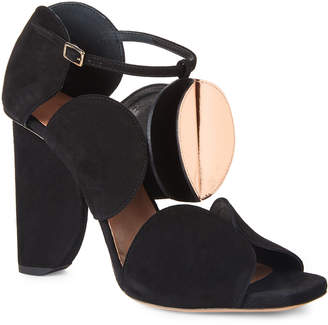 Dries Van Noten Black & Rose Gold Circle-Cut Suede Sandals