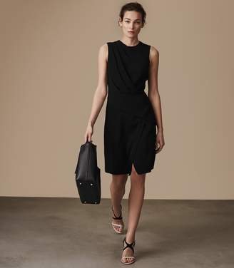 Reiss JOSEPHINE PLEAT-DETAIL DRESS Black