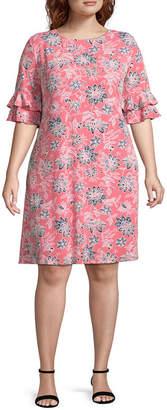 Ronni Nicole Elbow Sleeve Floral Sheath Dress - Plus