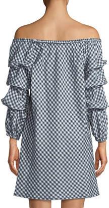 Max Studio Off-The-Shoulder Balloon-Sleeve Gingham Dress