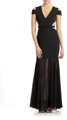 BCBGMAXAZRIA Chiffon-Trimmed Cutout Gown $448 thestylecure.com