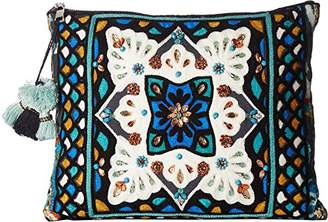 Steve Madden AVA Oversized Tribal Geometric Bohemian Fabric TOP Zipper Pouch Clutch