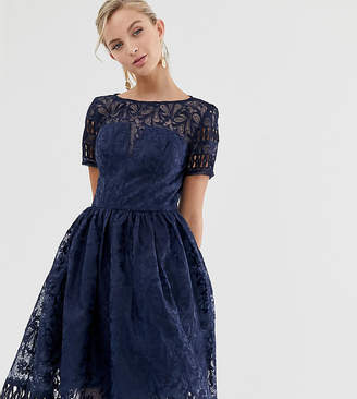Chi Chi London premium lace dress with cutwork detail and cap sleeve in navy