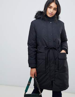 Oasis parka coat with faux fur trim in black