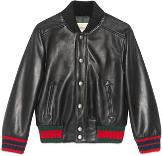 Children's leather bomber with Web $1,850 thestylecure.com