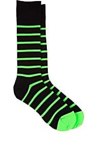 Paul Smith Men's Striped Cotton-Blend Mid-Calf Socks - Green