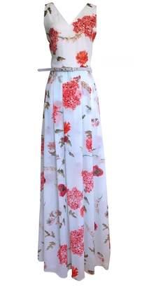 LEFON New York - Floral Print V Neck Maxi Dress And Belt