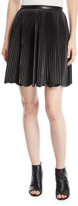 Elie Saab Short Pleated Leather Skirt with Stud Details