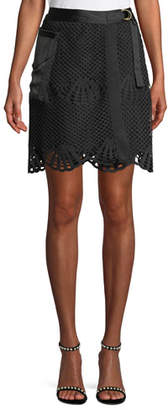 Self-Portrait Scalloped Crochet Lace Mini Skirt