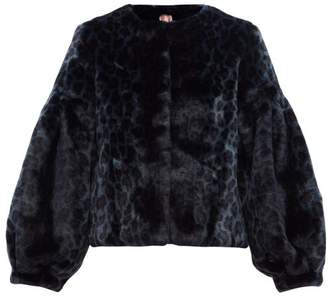 Shrimps Fergal Leopard Print Faux Fur Jacket - Womens - Navy