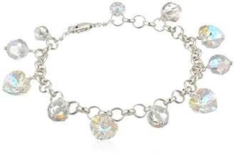 Swarovski Aurora Borealis Element Sterling Silver Heart and Bead Chain Link Charm Bracelet