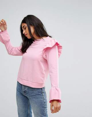 Only Ruffle Long Sleeve Sweater