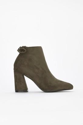 d86cfa432e8 WallisWallis Olive Tie Flared Heel Ankle Boot