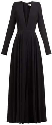 Alexandre Vauthier Plunge Neck Slit Front Crepe Gown - Womens - Black