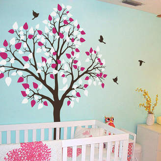 Wall Art Single Tree With Birds Flying Wall Sticker