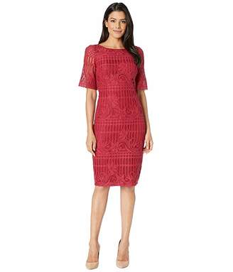 Adrianna Papell Carolina Scalloped Lace Sheath Dress w/ Rounded Neckline