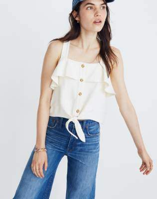 Madewell Texture & Thread Ruffle Tie-Front Tank