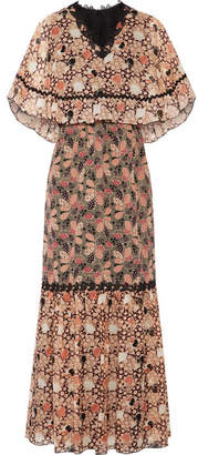 Anna Sui - Embellished Printed Silk-chiffon And Cotton-blend Voile Maxi Dress - Pink