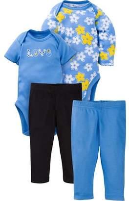 Gerber Newborn Baby Girl Mix N' Match Onesies Bodysuits & Slim Pants, 4pc Set