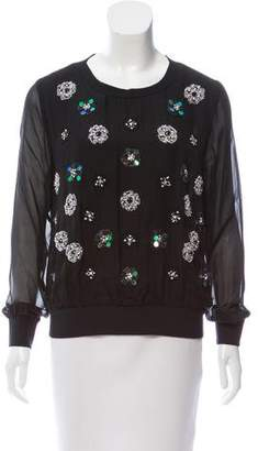 Milly Silk Floral Beaded Embellished Top