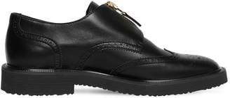 Giuseppe Zanotti ZIP-UP WING TIP BROGUE LEATHER SHOES