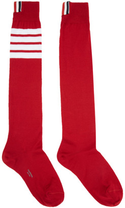Thom Browne Red Ribbed Knee-High Four Bar Socks $90 thestylecure.com
