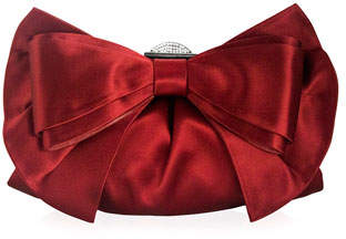 Judith Leiber Couture Madison Satin Bow Evening Clutch Bag, Crimson