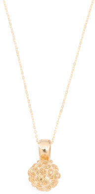 Made In Italy 14k Gold Basketweave Ball Necklace
