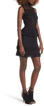 Women's Leith Mock Neck Lace Minidress $89 thestylecure.com