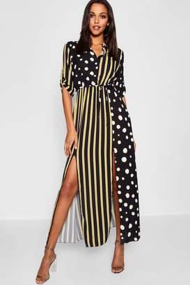 ac3a0a5c37b Free Returns at boohoo · boohoo Polka Dot + Stripe Mix Print Maxi Shirt  Dress