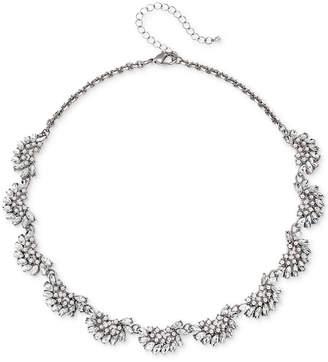 "Badgley Mischka Rose Gold-Tone Crystal & Imitation Pearl Collar Necklace, 16"" + 3"" extender"