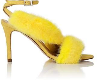 Barneys New York Women's Asymmetric-Strap Fur & Suede Sandals