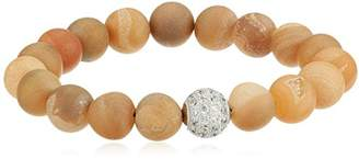 Genuine Agate Druzy 10mm Bead with Sterling Silver Pave Cubic Zirconia Accent Gemstone Stretch Bracelet