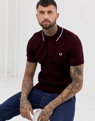 Fred Perry tipped knitted polo in burgundy
