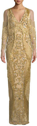 Pamella Roland V-Neck Long-Sleeve Beaded Fringe Evening Gown