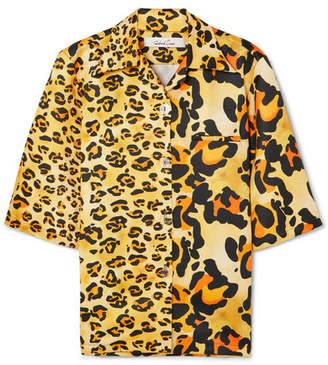 Richard Quinn Leopard-print Duchesse-satin Shirt - Yellow