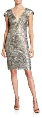 Tadashi Shoji Cap-Sleeve Sequin Lace Dress