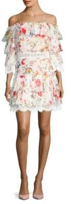 Alice + Olivia Santos Cold Shoulder Floral Print Sheath Dress