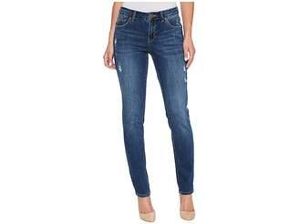 Jag Jeans Carter Girlfriend Crosshatch Denim Jeans in Thorne Blue w/ Destruction