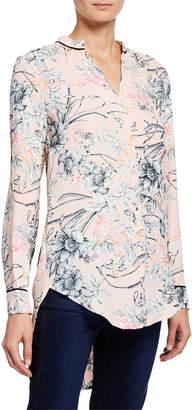 Joan Vass Floral High-Low Blouse