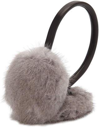 Surell Leather & Mink Fur Earmuffs, Gray/Black