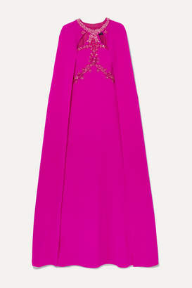 Marchesa Beaded Applique Cape-effect Crepe Gown - Fuchsia