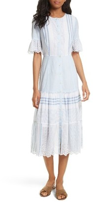 Women's La Vie Rebecca Taylor Stripe Cotton Midi Dress $350 thestylecure.com