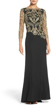 Women's Tadashi Shoji Embroidered Woven Gown $508 thestylecure.com