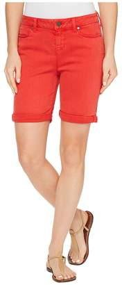Liverpool Corine Rolled-Cuff Walking Shorts in Pigment Dyed Stretch Slub Twill in Ribbon Red Women's Shorts