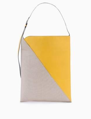 Calvin Klein sliced mixed media colorblock panel hobo