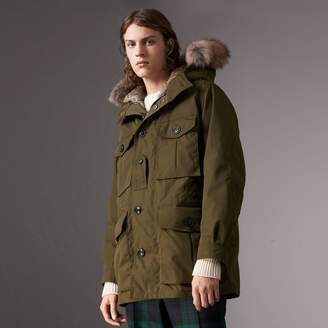 Burberry Detachable Fur Warmer and Fur Trim Hooded Parka