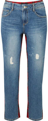 Sjyp Cropped Tartan Wool-paneled Distressed High-rise Straight-leg Jeans - Red